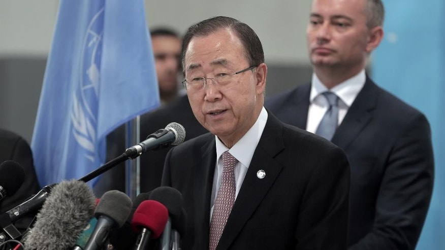 UN Secretary General Ban Ki-moon makes a statement to the press at a UNWRA school during his visit to the Gaza Strip, Tuesday, June 28, 2016. (AP Photo/Khalil Hamra)