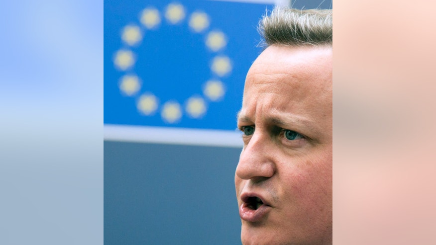 British Prime Minister David Cameron arrives for an EU summit in Brussels on Tuesday, June 28, 2016. EU heads of state and government meet Tuesday and Wednesday in Brussels for the first time since Britain voted to leave the European Union, throwing British and European politics into disarray. (AP Photo/Geoffroy Van der Hasselt)