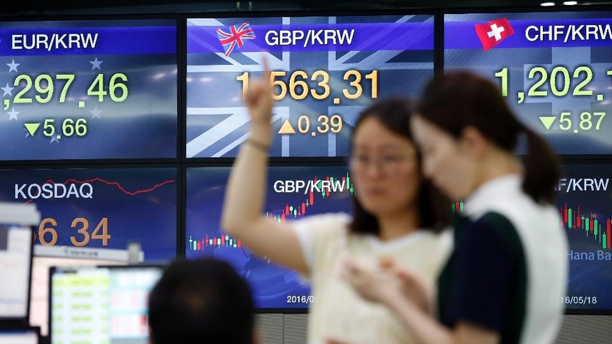Currency traders talk during a lunch break near screens showing the foreign exchange rates between the Pound and the South Korean Won currencies at the foreign exchange dealing room in Seoul, South Korea, Tuesday, June 28, 2016. South Korea's government lowered growth outlook for Asia's fourth-largest economy and planned a supplementary budget for a second year in a row as the global economy faces heightened uncertainty. (AP Photo/Lee Jin-man)