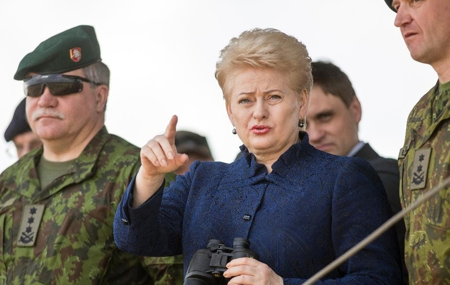 Lithuania's President Dalia Grybauskaite, center, and Chief of Defence of Lithuania Lieutenant General Jonas Vytautas Zukas, left, attend a joint NATO military exercise at the Training Range in Pabrade some 60km.(38 miles) north of the capital Vilnius,, Lithuania, Thursday, June 16, 2016. (AP Photo/Mindaugas Kulbis)