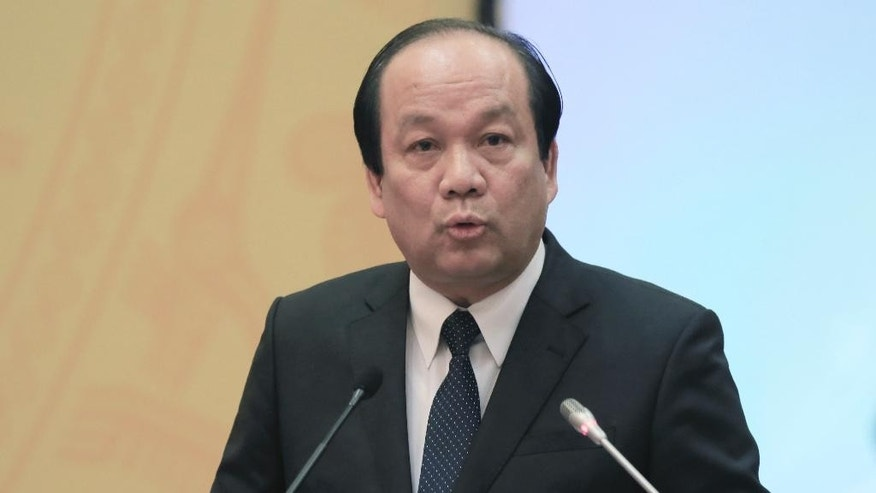 Chair of the Vietnamese Government Office, Minister Mai Tien Dung speaks at a press conference in Hanoi, Vietnam, on Thursday, June 30, 2016. Vietnam's government announced Thursday that a Taiwanese-owned steel plant was responsible for massive fish deaths along the central Vietnamese coast and said it has pledged to pay $500 million in compensation. (AP Photo/Tran Van Minh)