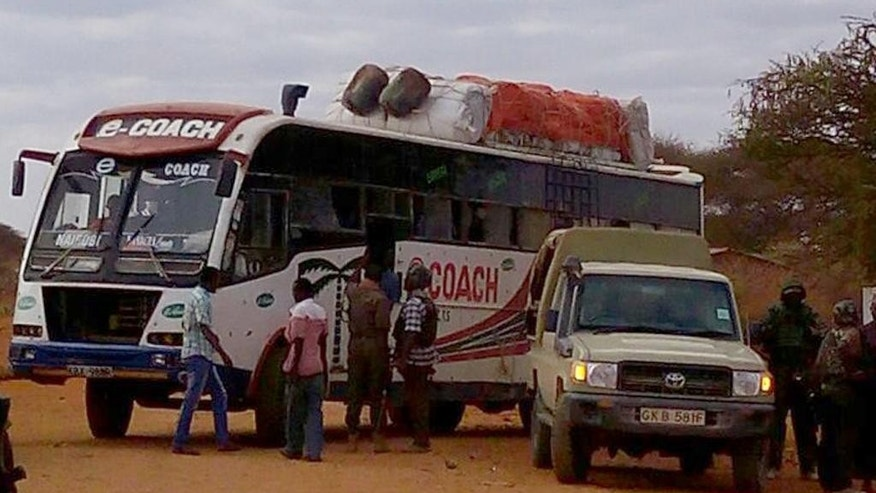 NOTE NOTE : Photo taken with mobile phone---One of the buses which was attacked in Mandera, Kenya, Friday July 1, 2016, after gunmen, thought to be from the al-Shabab group according to a Kenyan official, killed at least six people when they shot at two buses traveling in northern Kenya.  U.S. government issued a travel warning for U.S. citizens to avoid going to Kenya's border with Somalia. (AP Photo)(AP Photo)