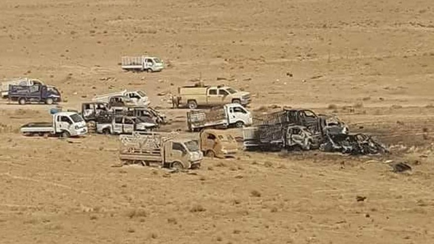 This image released by Iraq's Counterterrorism Service shows an Islamic State militant convoy destroyed by airstrikes near Fallujah, Iraq on Wednesday, June 29, 2016. They fled swiftly and in droves, convoys of the last remaining Islamic State fighters abandoning Fallujah, the Iraqi city they had held for more than two years, melting into the sprawling Anbar desert. Behind them, they left clumps of hair from beards hastily shaven so they could later easier blend into the civilian population. The victorious Iraqi army says it bombed convoys of fleeing jihadis, destroying dozens of vehicles. But they way IS quickly abandoned a long-held stronghold underscores its ability to adapt and regroup, long after defeat on the battlefield.  ()Iraq Counterterrorism Service via AP)