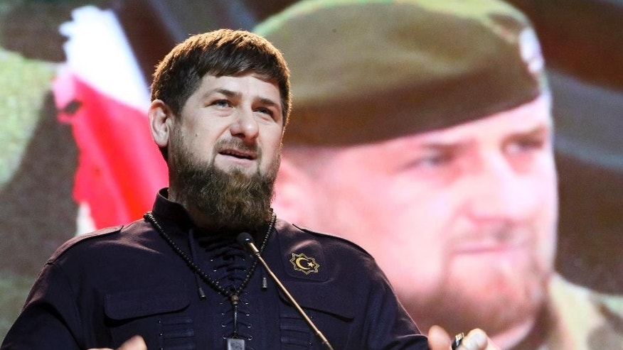 FILE - In this file photo taken Saturday, Feb. 20, 2016, Chechen regional leader Ramzan Kadyrov speaks as he attends celebrations marking Defenders of the Fatherland Day in Chechnya's provincial capital Grozny, Russia. The Kremlin-backed strongman leader of Chechnya says he will seek another term in office. (AP Photo/Musa Sadulayev, File)