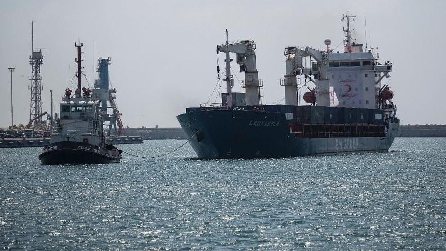"Panama-flagged ""Lady Leyla"", a ship carrying Turkish humanitarian aid to Gaza, arrives at the port in the city of Ashdod, Israel, Sunday, July 3, 2016. The first Turkish aid shipment to Gaza since Ankara reconciled with Israel after a six-year spat has arrived in an Israeli port Sunday with 10,000 tons of aid, including food, toys, clothes and shoes destined for Gaza ahead of the upcoming Muslim holiday of Eid al-Fitr. (AP Photo / Tsafrir Abayov)"