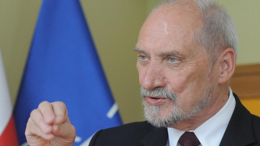 Polish Defense Minister Antoni Macierewicz speaks to The Associated Press in Warsaw, Poland, Monday, July 4, 2016, ahead of the NATO summit starting in Warsaw July 8, 2016 (AP Photo/Alik Keplicz)