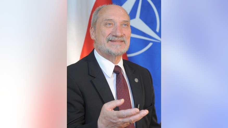 Polish Defense Minister Antoni Macierewicz speaks to The Associated Press in Warsaw, Poland, Monday, July 4, 2016, ahead of the NATO summit starting in Warsaw July 8, 2016. (AP Photo/Alik Keplicz)