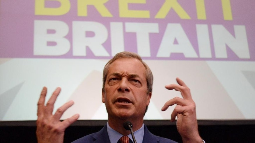 United Kingdom Independence Party leader, Nigel Farage, announces he is resigning as party leader during a speech at The Emmanuel Centre in London, Monday July 4, 2016. Farage was instrumental in the campaign to have Britain leave the EU trading bloc, championing the issue of immigration. (Stefan Rousseau/PA via AP)