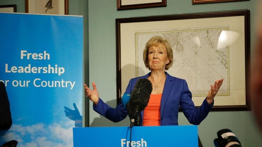British ruling Conservative Party Member of Parliament Andrea Leadsom launches her campaign to be the party's new leader in London, Monday, July 4, 2016. British Prime Minister David Cameron resigned on June 24, after Britain voted to leave the European Union in a referendum. (AP Photo/Matt Dunham)