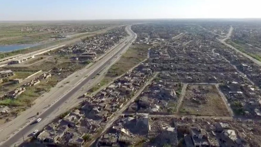 This image made from aerial drone footage released by the International Committee of the Red Cross on Monday shows destruction in Ramadi.