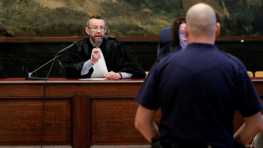 Belgian judge Pierre Hendrickx presides over the trial of suspects in the foiled Islamist attack plot in the town of Verviers.