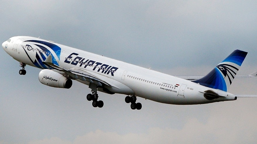 May 19, 2016: An EgyptAir Airbus A330-300 takes off for Cairo from Charles de Gaulle Airport outside of Paris.