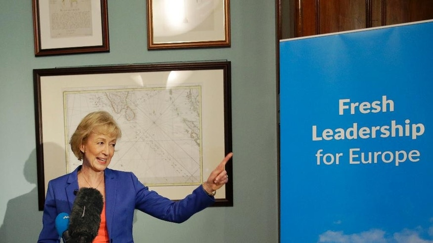 British ruling Conservative Party Member of Parliament Andrea Leadsom launches her campaign in London, Monday, July 4, 2016. British Prime Minister David Cameron resigned on June 24, after Britain voted to leave the European Union in a referendum. (AP Photo/Matt Dunham)