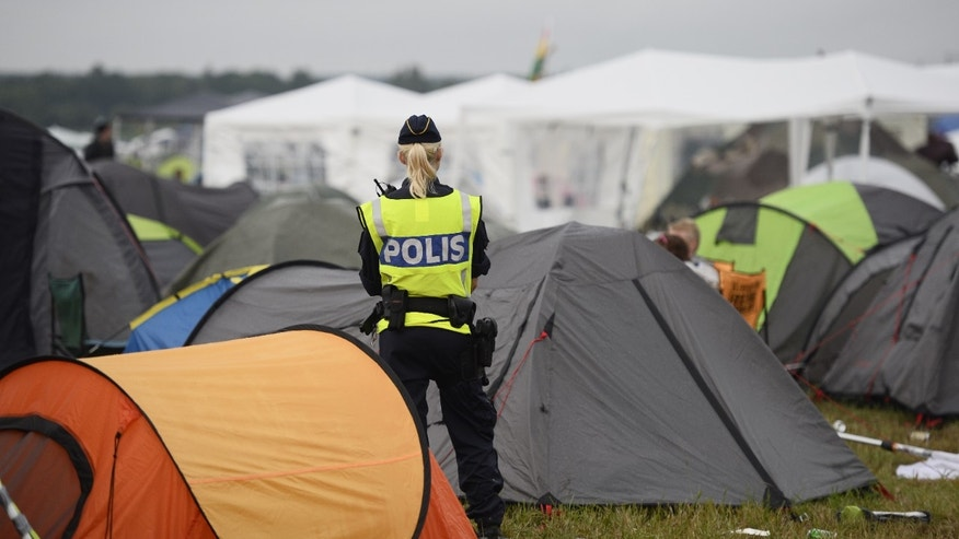 Security in a campsite at the Bravalla Festival.