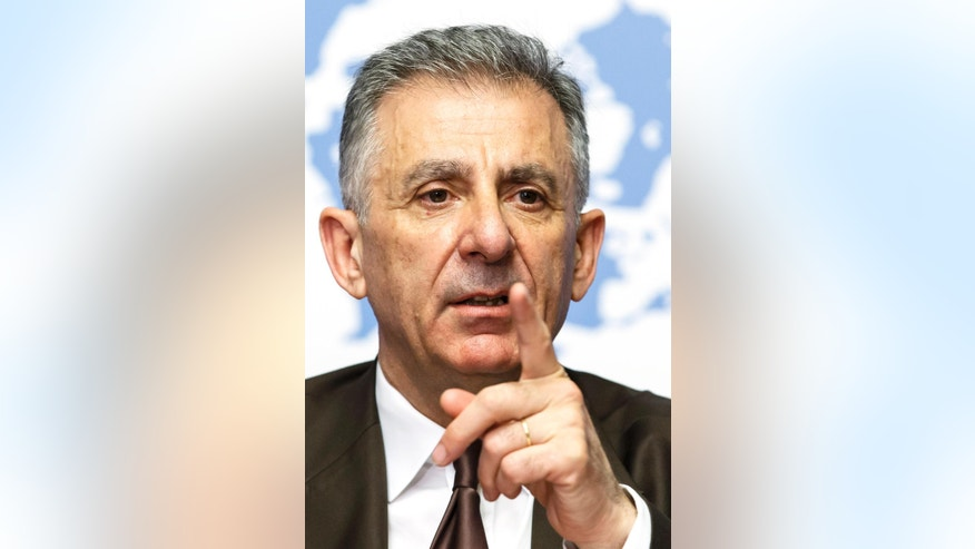 Executive Director of the Counter-Terrorism Executive Directorate, CTED, Jean-Paul Laborde of France speaks at a news conference about counter-terrorism efforts of the United Nations at their European headquarters in Geneva, Switzerland, Tuesday, July 5, 2016. (Salvatore Di Nolfi/Keystone via AP)