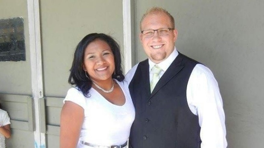Josh Holt (R) and his wife Thasmara Belen Caleño Candelo (L).