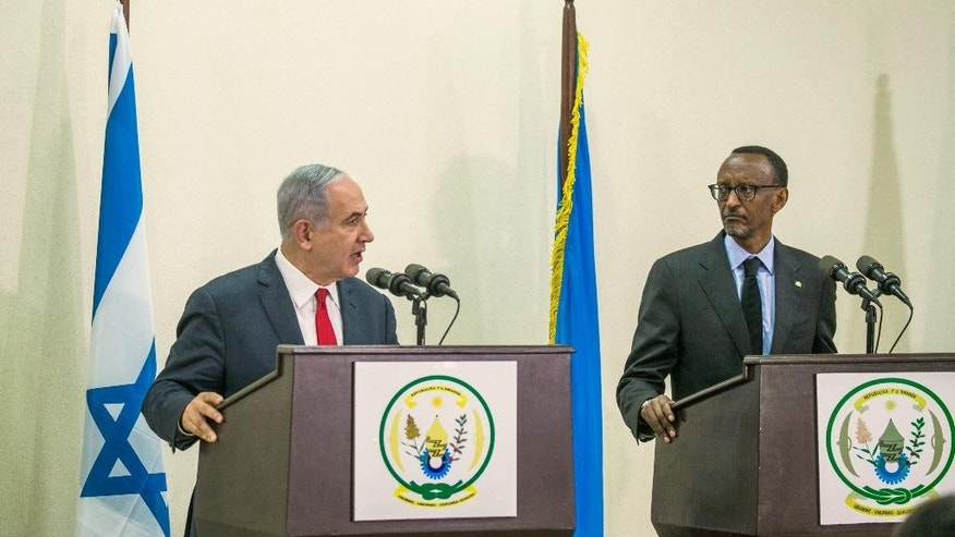 Israeli Prime Minister, Benjamin Netanyahu, left, and Rwandas President, Paul Kagame, speak during a joint press conference in Kigali, Rwanda, Wednesday, July 6, 2016. Netanyahu is on a one day visit to Rwanda, during a four-nation Africa tour. (AP Photo)