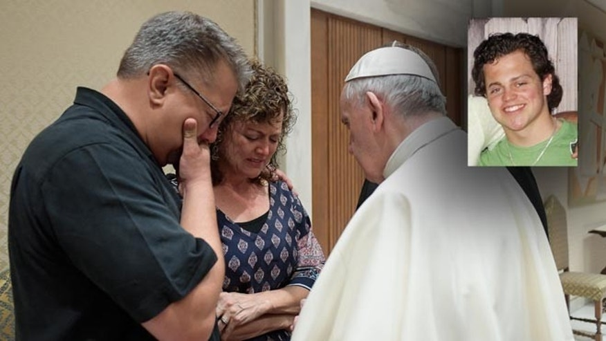 Pope Francis meets Nick and Jodi Solomon, the parents of Beau Solomon, on July 6, 2016.