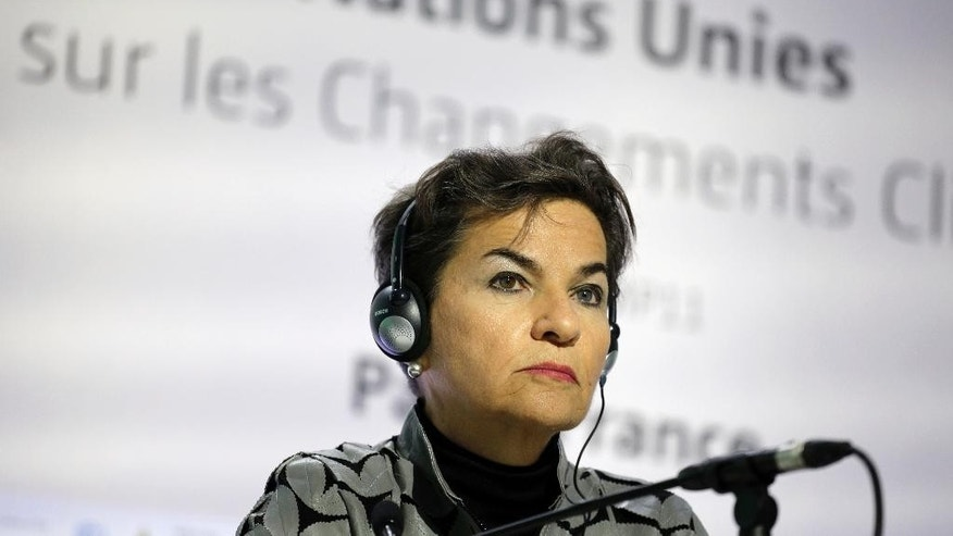 FILE - In this Nov. 28, 2015 file photo, United Nations Climate Chief Christiana Figueres looks on during a press conference ahead of the U.N Climate Conference in Le Bourget, outside Paris, France. Costa Rica's government announced on Thursday, July 7, 2016 that they are nominating Figueres for U.N. Secretary General. (AP Photo/Laurent Cipriani, File)