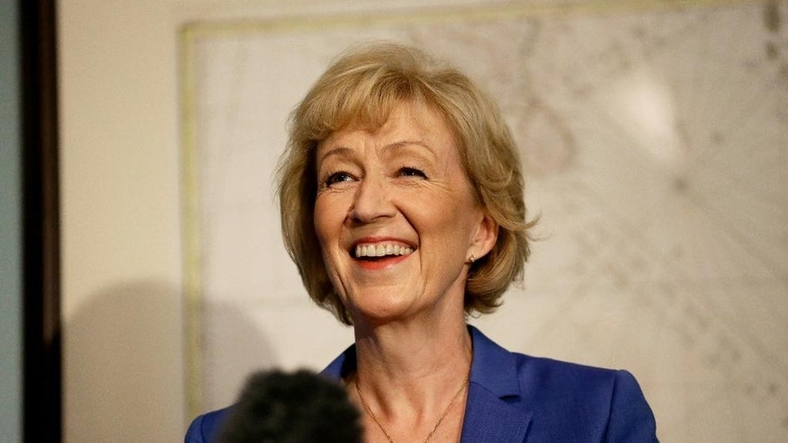 British ruling Conservative Party Member of Parliament, Andrea Leadsom, launches her campaign in London, Monday, July 4, 2016. British Prime Minister David Cameron resigned on June 24, after Britain voted to leave the European Union in a referendum. (AP Photo/Matt Dunham)