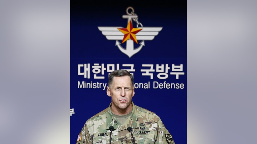 Lt. Gen. Thomas Vandal, the commander of U.S. Forces Korea's Eighth Army speaks to the media during a media briefing at Defense Ministry in Seoul, South Korea, Friday, July 8, 2016. (AP Photo/Lee Jin-man)
