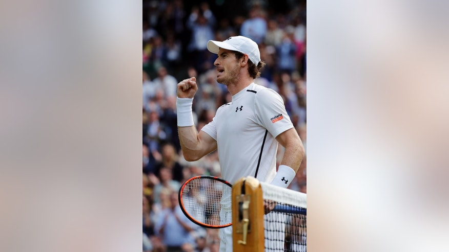 Andy Murray of Britain celebrates after beating Tomas Berdych of the Czech Republic in their men's semifinal singles match on day twelve of the Wimbledon Tennis Championships in London, Friday, July 8, 2016. (AP Photo/Ben Curtis)