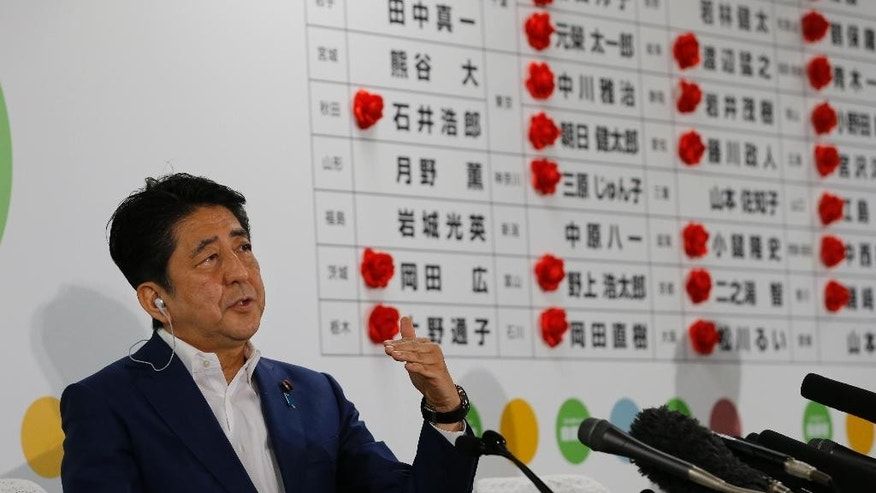Japan's Prime Minister Shinzo Abe, leader of the Liberal Democratic Party, answers a question from reporter during a TV interview on the ballot counting of the parliamentary upper house election at their party headquarters in Tokyo, Sunday, July 10, 2016. (AP Photo/Shizuo Kambayashi)