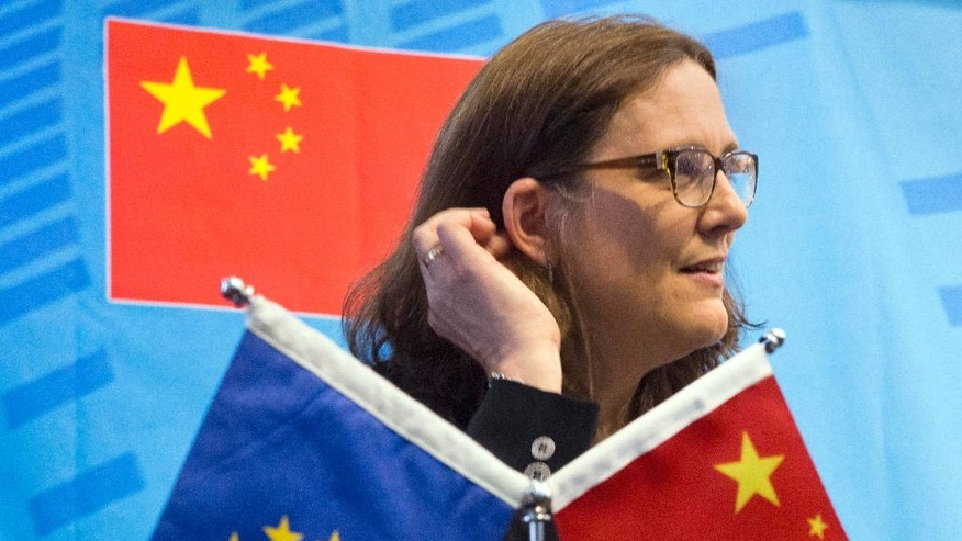 EU Trade Commissioner Cecilia Malmstrom speaks at the University of International Business and Economics in Beijing Monday, July 11, 2016. Malmstrom said China has to give European companies the same kind of market access that Chinese companies enjoy in Europe before discussions can start on a bilateral free trade agreement. (AP Photo/Ng Han Guan)