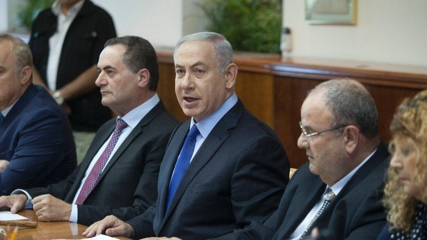 Israeli Prime Minister Benjamin Netanyahu attends a weekly cabinet meeting in Jerusalem. Sunday, July 10, 2016. (AP Photo/Dan Balilty, Pool)