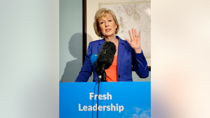 FILE- In this file photo dated Monday, July 4, 2016,  Andrea Leadsom during the launch of her bid to become the Conservative Party leader in London, Monday, July 4, 2016.  Andrea Leadsom announced Monday July 11, 2016, she is withdrawing from the race for party leadership and assuming the position as Britain's Prime Minister, seemingly leaving Theresa May as the sole candidate.  (AP Photo/Matt Dunham, FILE)