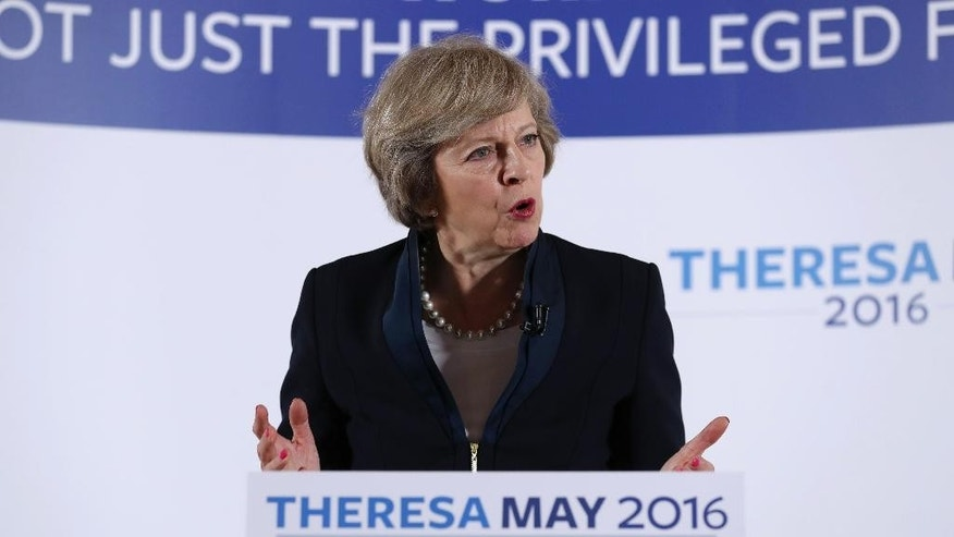 Britain's Home Secretary Theresa May officially launches her campaign to become prime minister in Birmingham, England, Monday July 11, 2016.  On the day that May launched her bid, her only contender Andrea Leadsom has announced that she is withdrawing, seemingly leaving Theresa May to assume the position of Conservative Party leader and the office of Prime Minister. (Chris Radburn / PA via AP)