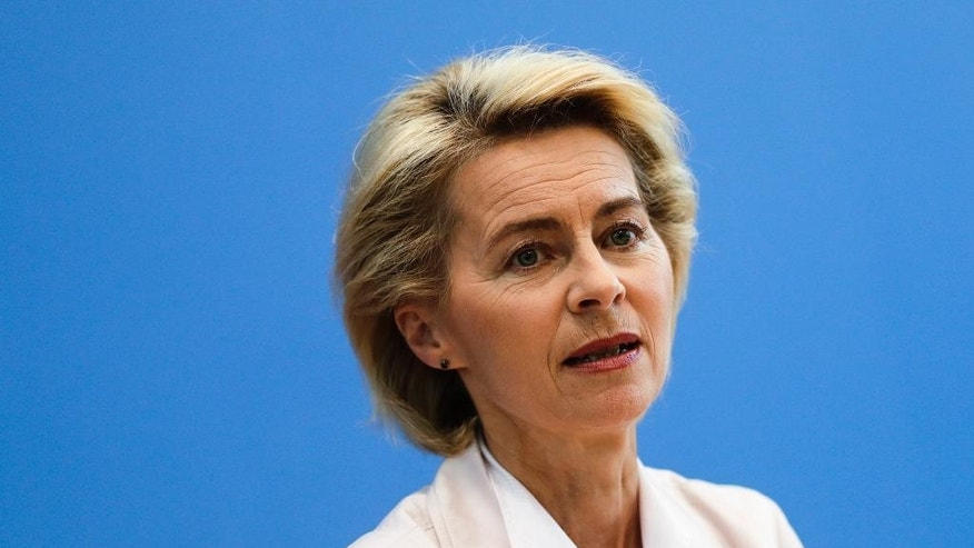 "German Defense Minister Ursula von der Leyen arrives for a news conference in Berlin, Germany, Wednesday, July 13, 2016. to present  a  defense policy paper.  Germany's defense minister says Britain's decision to leave the European Union offers an opportunity to press ahead with greater military cooperation in the bloc. Ursula von der Leyen says Britain for years ""consistently blocked everything that had Europe written on it,"" citing the example of a mobile European hospital some countries wanted to deploy to crisis regions. Speaking at the presentation of a defense policy paper Wednesday, von der Leyen said Germany and France plan to take the initiative on future military cooperation. (AP Photo/Markus Schreiber)"