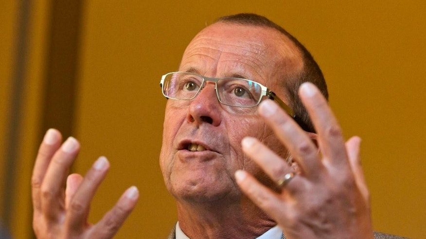 U.N. envoy for Libya Martin Kobler speaks during an interview with the Associated Press in Cairo, Egypt, Wednesday, July 13, 2016. Martin Kobler confirmed reports that the formation of military councils representing Libya's western, eastern and southern regions is being discussed. (AP Photo/Amr Nabil)