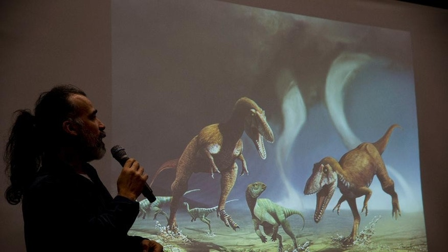 Argentine paleontologist Sebastian Apesteguia speaks next to a a drawing of what he says is a newly-discovered carnivorous dinosaur that lived in Argentina about 90 million named Gualicho in Buenos Aires, Argentina, Wednesday, July 13, 2016. The team of scientists says it was up to 26 feet long but its arms only measured about 2 feet. (AP Photo/Natacha Pisarenko)