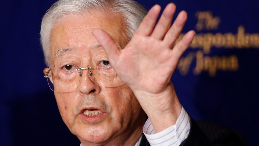 "Tadae Takubo, chairman of Nippon Kaigi, gestures while speaking during a press conference at the Foreign Correspondents' Club of Japan in Tokyo, Wednesday, July 13, 2016. Nippon Kaigi, an influential Japanese political lobby, said it will do its utmost to capitalize on Japanese Prime Minister Shinzo Abe's election victory to push for a constitutional revision for a more active military role. Takubo said  that the war-renouncing constitution that makes Japan's defense ""defective"" needs to be corrected. (AP Photo/Shizuo Kambayashi)"