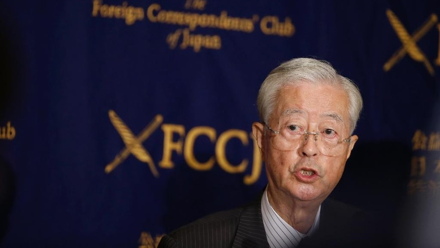 "Tadae Takubo, chairman of Nippon Kaigi, speaks during a press conference at the Foreign Correspondents' Club of Japan in Tokyo, Wednesday, July 13, 2016. Nippon Kaigi, an influential Japanese political lobby, said it will do its utmost to capitalize on Japanese Prime Minister Shinzo Abe's election victory to push for a constitutional revision for a more active military role. Takubo said  that the war-renouncing constitution that makes Japan's defense ""defective"" needs to be corrected. (AP Photo/Shizuo Kambayashi)"