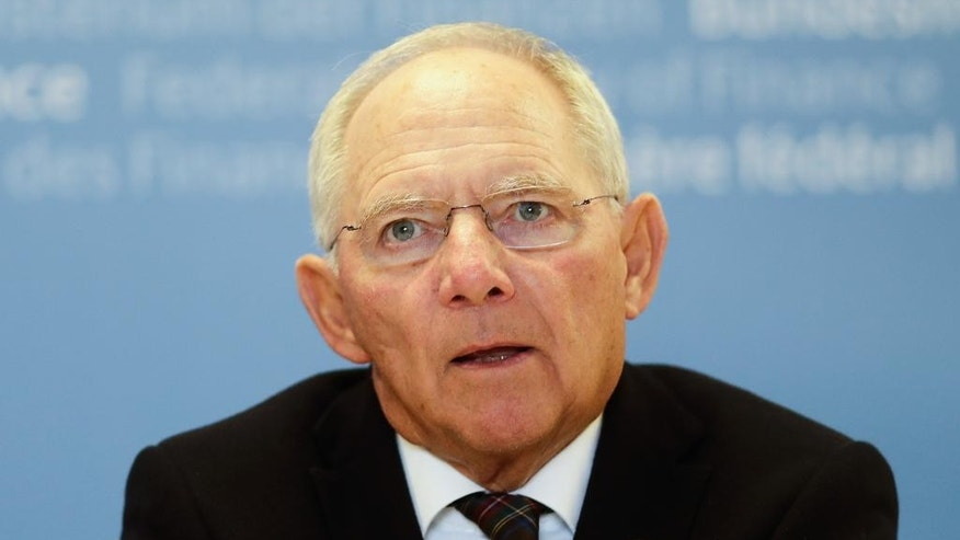 German Finance Minister Wolfgang Schaeuble attends a news conference with his U.S. counterpart  Jacob Lew after a meeting at the finance ministry in Berlin, Germany, Thursday, July 14, 2016.  (AP Photo/Markus Schreiber)