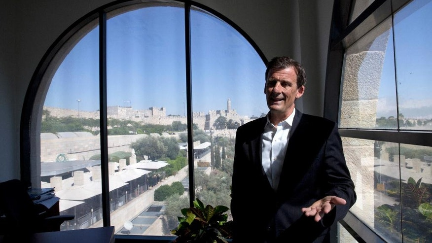 "In this photo taken Wednesday, July 13, 2016, Dave Harden, Director for the U.S. Agency for International Development mission in the West Bank and Gaza Strip, speaks during an interview with The Associated Press in Jerusalem. After 11 years helping oversee the U.S. government's aid efforts to lay the foundations for a future Palestinian state, the man in charge of the mission is unsure whether that vision has inched any closer to reality. ""It's frustrated. It's definitely frustrating,"" says Dave Harden, who is stepping down as director for U.S. Agency for International Development mission in the West Bank and Gaza Strip. (AP Photo/Sebastian Scheiner)"