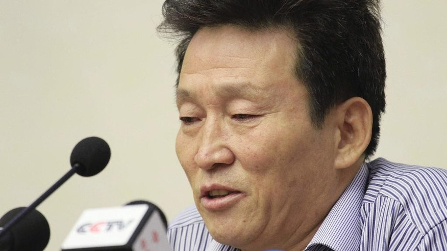 Ko Hyon Chol speaks as he is presented to reporters in Pyongyang, North Korea, on Friday, July 15, 2016. North Korea on Friday presented Ko Hyon Chol to media as a man it alleges is a South Korean spy who tried to enter the North to kidnap children. (AP Photo/Jon Chol Jin)