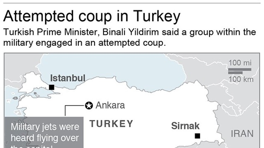 Map locates Ankara, Turkey where an attempted military coup took place; 2c x 3 inches; 96.3 mm x 76 mm;