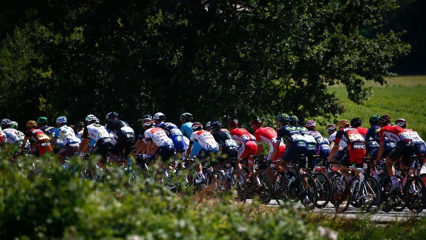 the pack rides during the fourteenth stage of the Tour de France cycling race over 208.5 kilometers (129.2 miles) with start in Montelimar and finish in Villars-les-Dombes, France, Saturday, July 16, 2016. (AP Photo/Peter Dejong)