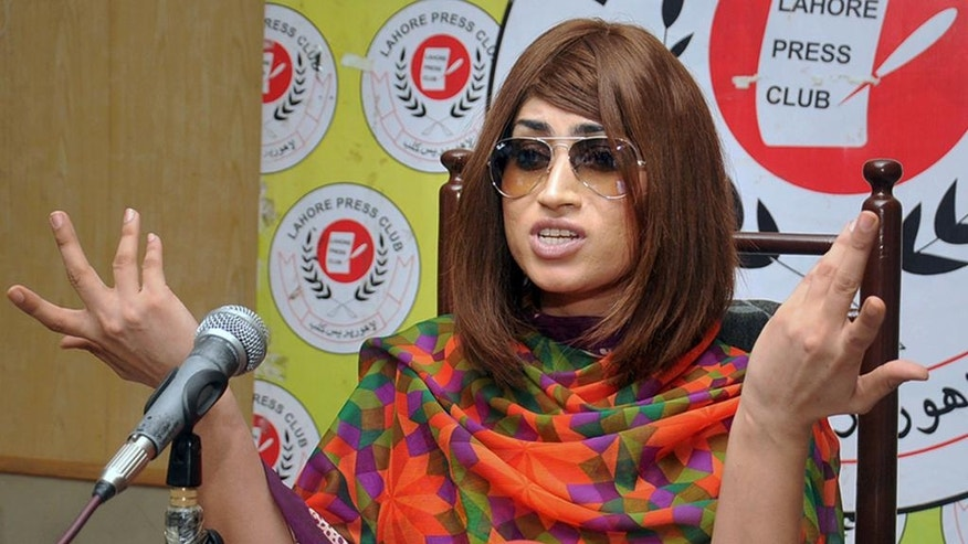 In this picture taken on June 28, 2016, Pakistani fashion model Qandeel Baloch speaks during a press conference in Lahore, Pakistan. Baloch, who recently stirred controversy by posting pictures of herself with a Muslim cleric on social media, was strangled to death by her brother, police said Saturday, July 16, 2016. (AP Photo/M. Jameel)