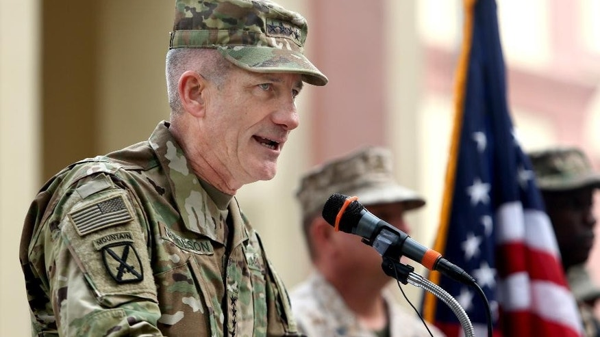 FILE - In this Wednesday, March 2, 2016 file photo, new U.S. commander in Afghanistan, U.S. Army Gen. John Nicholson speaks during a change of command ceremony at the Resolute Support Headquarters in Kabul, Afghanistan. President Barack Obama's decision to allow more aggressive U.S. military action in support of Afghan combat operations against the Taliban could have a game-changing effect on the long war, Gen. John Nicholson, the top U.S. commander in Afghanistan, said Saturday, July 16, 2016. (AP Photo/Rahmat Gul, File)