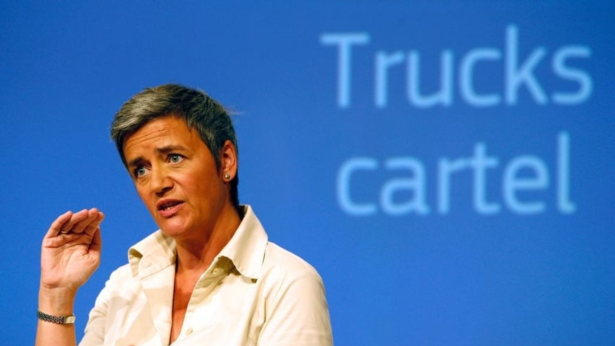 EU Antitrust Commissioner Margrethe Vestager addresses the media at EU Commission headquarters in Brussels, Belgium, Tuesday, July 19, 2016. The European Union has slapped its biggest ever cartel fine, worth $3.24 billion, on a half-dozen of Europe's top truck producers for colluding to keep prices artificially high at the expense of consumers. (AP Photo/Darko Vojinovic)