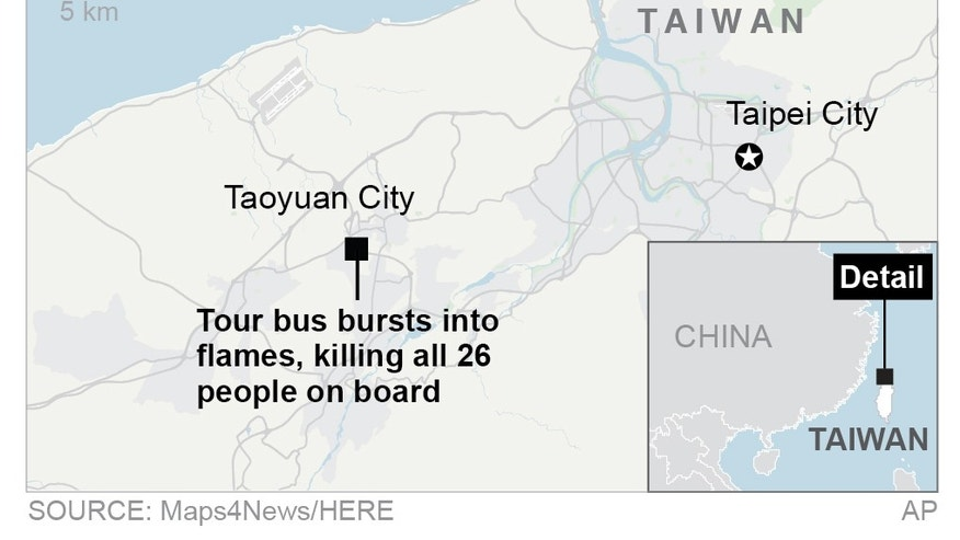 Map locates bus crash in Taiwain; 2c x 2 inches; 96.3 mm x 50 mm;
