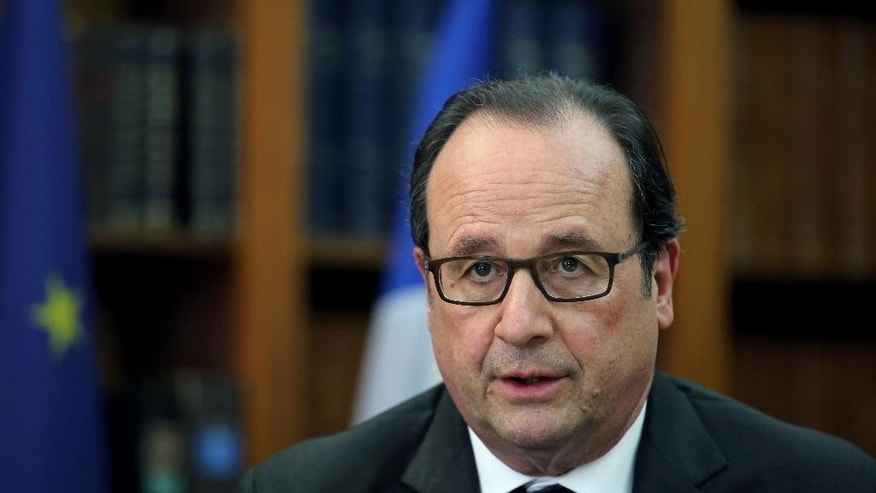 France President Francois Hollande attends a meeting with magistrates at the Justice Minister, in Paris, Monday, July 18, 2016. (AP Photo/Thibault Camus, Pool)