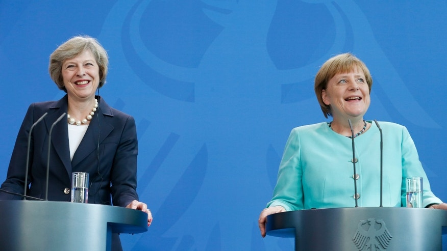 German Chancellor Angela Merkel and British Prime Minister Theresa May in Berlin.
