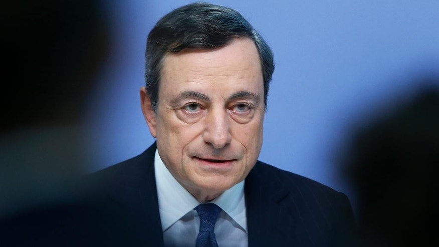 President of the European Central Bank Mario Draghi speaks during a press conference in Frankfurt, Germany, Thursday, July 21, 2016, after a meeting of the governing council. (AP Photo/Michael Probst)