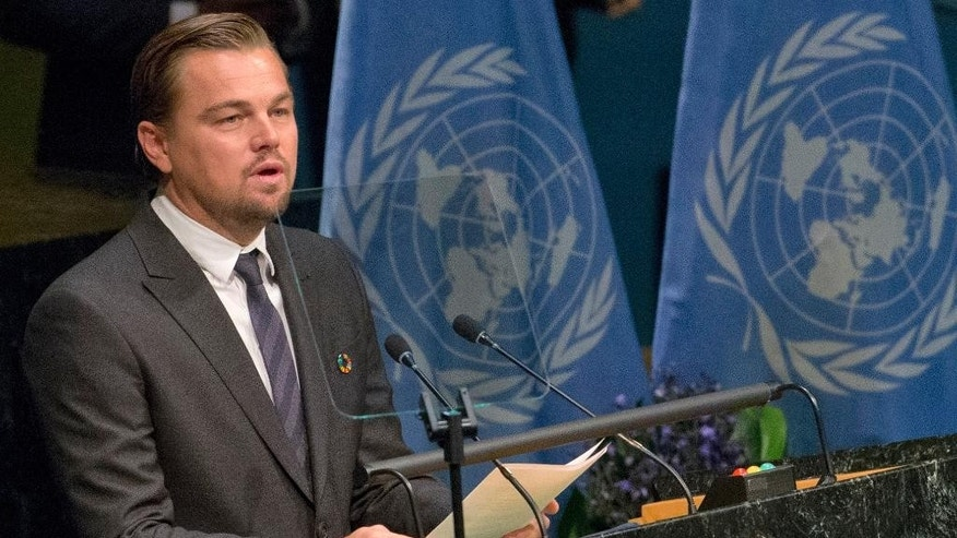 FILE - This is a Friday, April 22, 2016 file photo of actor Leonardo DiCaprio as he speaks during the Paris Agreement on climate change ceremony at U.N. headquarters. The Leonardo DiCaprio Foundation said Thursday July 21, 2016 that it raised nearly $45 million at a celebrity-filled auction gala Wednesday night in Saint Tropez for environmental action, but is donating a portion to a French anti-terrorism charity in the light of last week's attacks.  (AP Photo/Mary Altaffer, File)