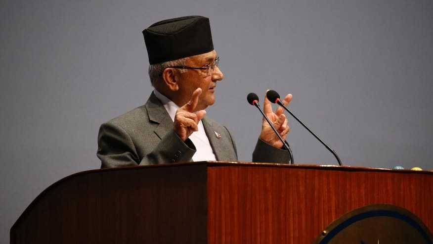 Nepal's Prime Minister Khadga Prasad Oli informs the Parliament about his resignation in Kathmandu, Nepal, Sunday, July 24, 2016. Oil resigned on Sunday shortly before he was to face a confidence vote in parliament that he expected to lose, further aggravating political instability in the Himalayan country.(AP Photo/Bikram Rai)